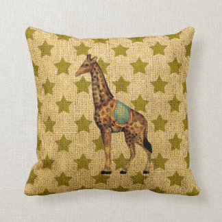 Vintage Circus Giraffe on Green Stars Throw Pillow