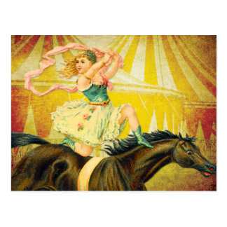 Vintage Circus Girl Acrobat on Horse Postcard