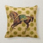 Vintage Circus Horse Throw Pillows