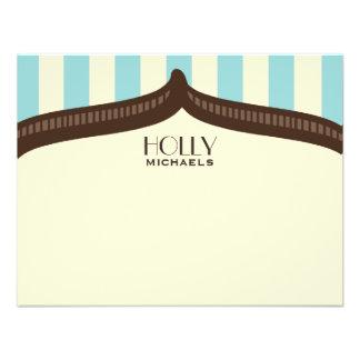 Vintage Circus Inspired Blue Stripes Flat Notecard Invitation