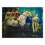 Vintage Circus Jack the Clown and Three Queens Poster
