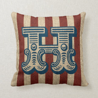 Vintage Circus Letter H Burlap Look 2 Throw Pillow