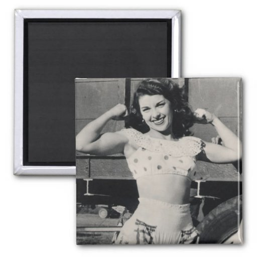 Vintage Circus Muscle Girl Photo Fridge Magnet
