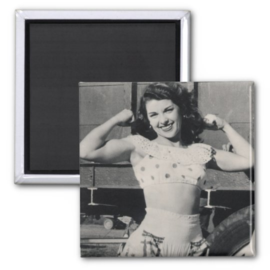 Vintage Circus Muscle Girl Photo Magnet