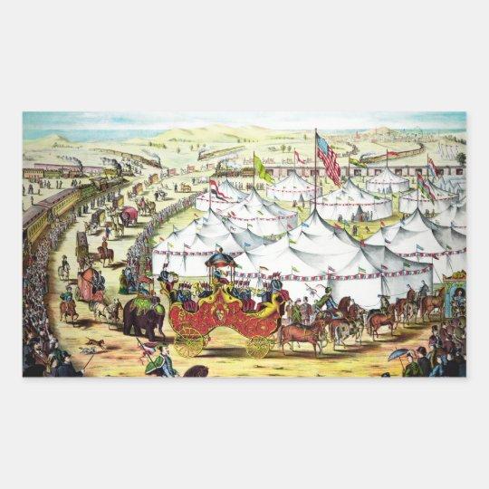 Vintage Circus Parade Rectangular Sticker
