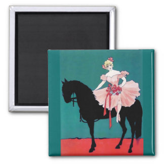 Vintage Circus Performer with a Black Horse 2 Inch Square Magnet