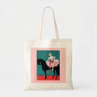 Vintage Circus Performer with a Black Horse Bags