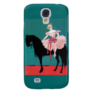 Vintage Circus Performer with a Black Horse Galaxy S4 Case