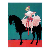 Vintage Circus Performer with a Black Horse Postcard