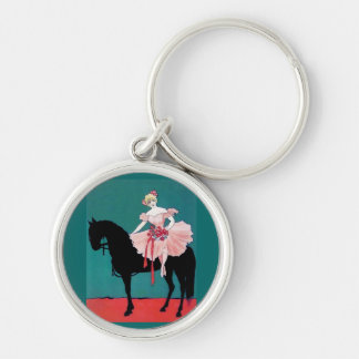 Vintage Circus Performer with a Black Horse Silver-Colored Round Keychain