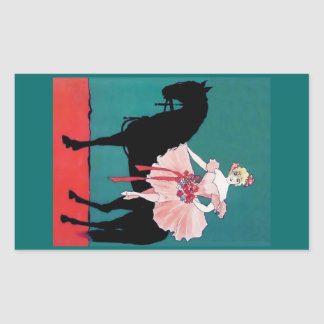 Vintage Circus Performer with a Black Horse Rectangle Sticker
