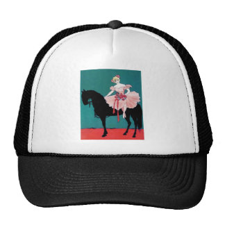 Vintage Circus Performer with a Black Horse Trucker Hat