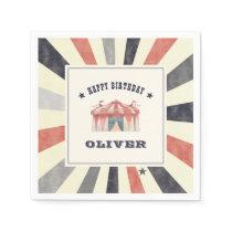 Vintage Circus Personalized Birthday Party Napkin