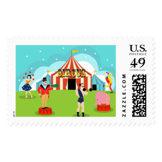 Vintage Circus Postage Stamps
