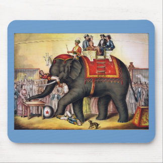 Vintage Circus Poster Art - Performing elephant Mouse Pads