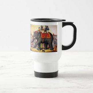 Vintage Circus Poster Art - Performing elephant Travel Mug