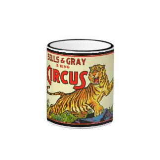 Vintage Circus Poster Coffee Mug with Tiger