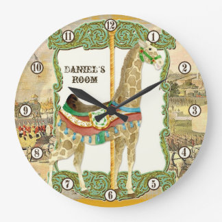 Vintage Circus Poster, Giraffe Baby Room Clock