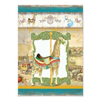Vintage Circus Poster, Giraffe Baby Shower Card
