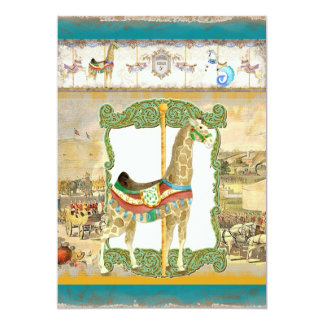 Vintage Circus Poster, Giraffe Baby Shower 5x7 Paper Invitation Card