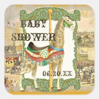 Vintage Circus Poster, Giraffe Baby Shower Square Sticker