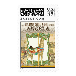 Vintage Circus Poster, Giraffe Baby Shower Stamps