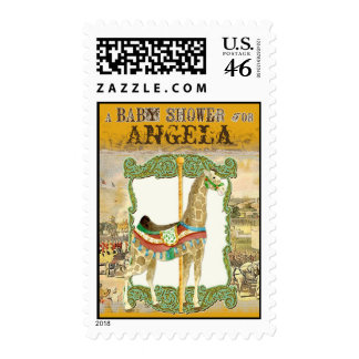 Vintage Circus Poster Giraffe Baby Shower Stamps