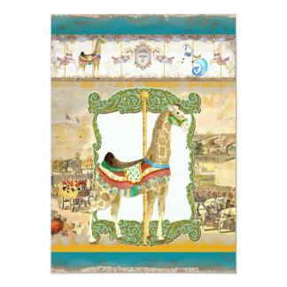 Vintage Circus Poster, Giraffe Birthday Party 5x7 Paper Invitation Card