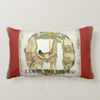 Vintage Circus Poster, Giraffe Carousel Carnival Throw Pillow