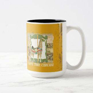 Vintage Circus Poster, Giraffe Carousel Carnival Two-Tone Coffee Mug