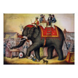 Vintage Circus Poster - Performing elephant