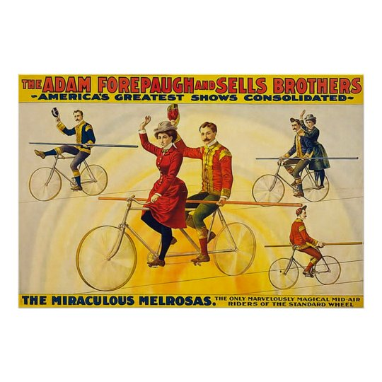 Vintage Circus Poster The Miraculous Melrosas.