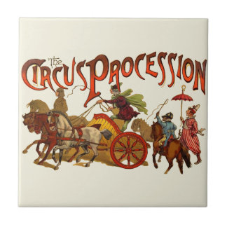 Vintage Circus Procession Clowns and Horses Ceramic Tile