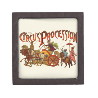 Vintage Circus Procession Clowns and Horses Jewelry Box
