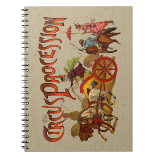 Vintage Circus Procession Clowns and Horses Notebook