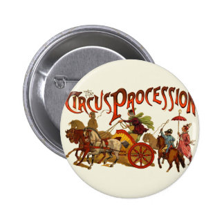 Vintage Circus Procession Clowns and Horses Pinback Button