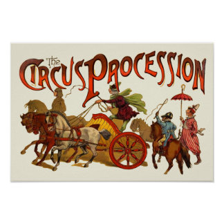 Vintage Circus Procession Clowns and Horses Print