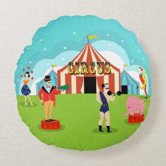 Vintage Circus Round Pillow