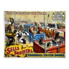 Vintage Circus - Sells Brothers Circus Postcard