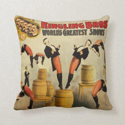 Vintage Circus Sideshow Poster Pillow
