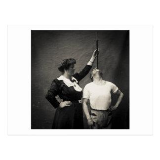 Vintage Circus Sideshow Sword Swallower Freak Postcard