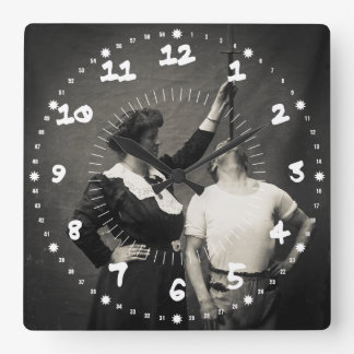 Vintage Circus Sideshow Sword Swallower Freak Square Wall Clock