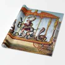 Vintage Circus Snake Handler and Caged Animals Wrapping Paper