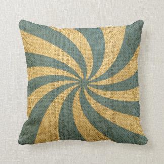 Vintage Circus Spiral Blue Throw Pillow