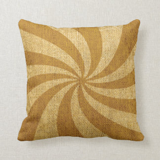 Vintage Circus Spiral Golden Throw Pillow