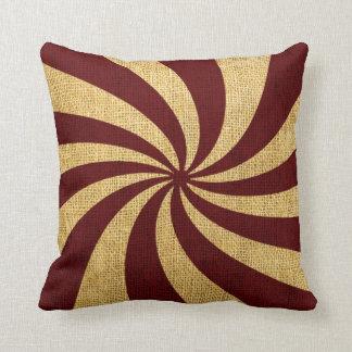 Vintage Circus Spiral Red Throw Pillow