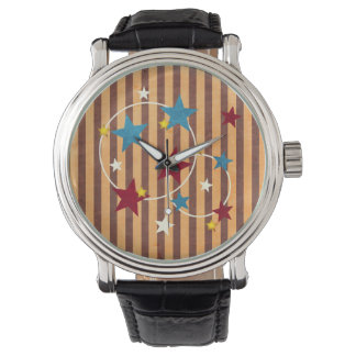 Vintage Circus Stars and Stripes Wrist Watches
