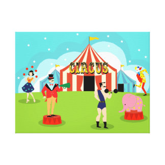 Vintage Circus Stretched Canvas Print