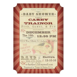 Vintage Circus Ticket Baby Girl Shower Invitation