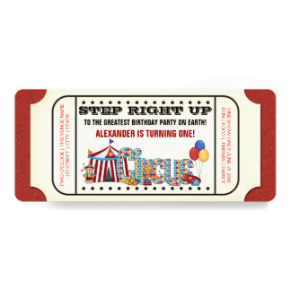 Vintage Circus Ticket Birthday Party 4x9.25 Paper Invitation Card